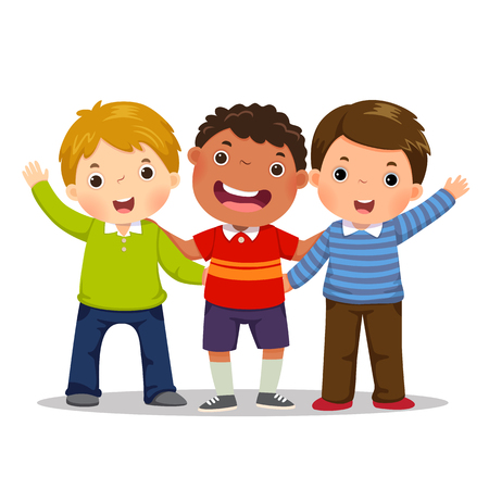 Group of three happy boys standing together. Friendship concept Çizim