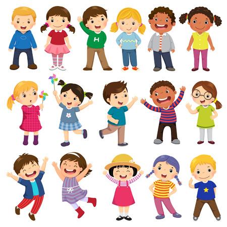 Feliz crianças Cartum coleção. Crianças multiculturais em diferentes posições isoladas no fundo branco