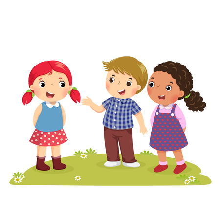 Illustration of a boy Introducing his friend to the girl 일러스트