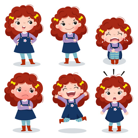 Illustration of cute curly red hair girl showing different emotions Çizim