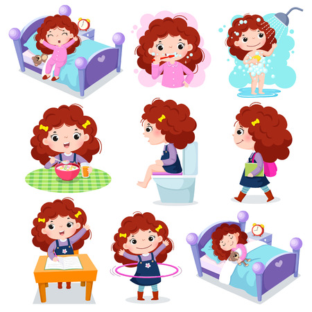 Illustration of daily routine activities for kids with cute girl Çizim