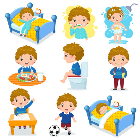 Illustration of daily routine activities for kids with cute boy