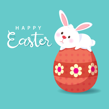 Greeting card with white Easter Bunny. Easter egg and cute rabbit Vector illustration.