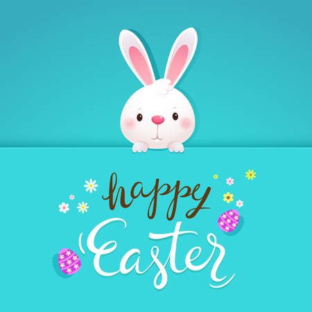 Happy Easter greeting card with white rabbit and eggs. Easter bunny