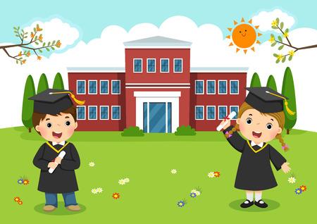 Graduated kids in front of school building 일러스트