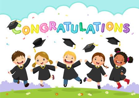 Vector illustration of students celebrating graduation Illustration