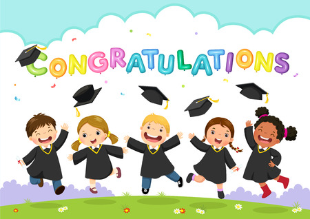 Vector illustration of students celebrating graduation Stock Illustratie