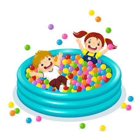 Vector illustration of children playing with colorful balls in ball pool Ilustração
