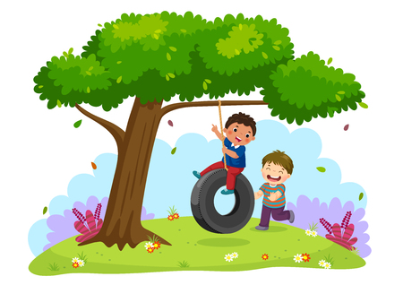 Vector illustration of happy two boys playing tire swing under the tree