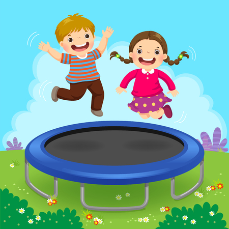 Vector illustration of happy kids jumping on trampoline in the backyard