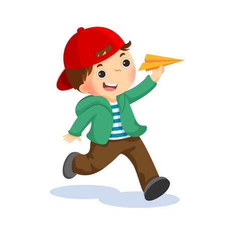 Vector illustration of happy kid playing with paper airplane.
