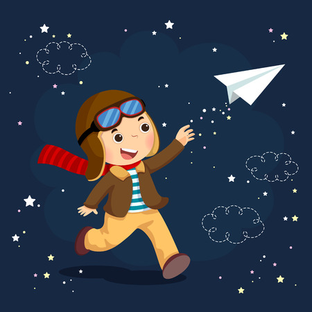Vector illustration of little boy wearing helmet and dreams of becoming an aviator while flying a paper plane. Çizim