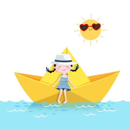 Ilustración de vector de linda chica relajante en un barco de papel. Concepto de vacaciones de verano