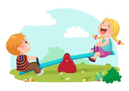 Vector illustration of cute kids having fun on seesaw at playground Çizim