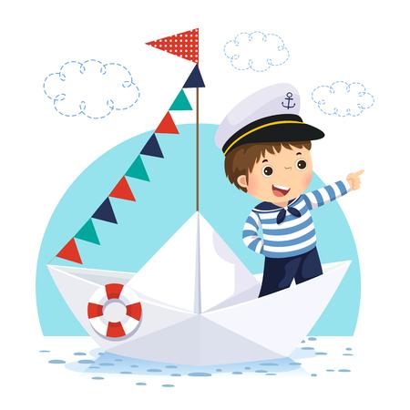 Illustrazione vettoriale del ragazzino in costume da marinaio in piedi in una barchetta di carta