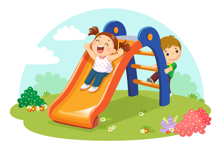 Vector illustration of cute kids having fun on slide in playground Imagens - 102686176