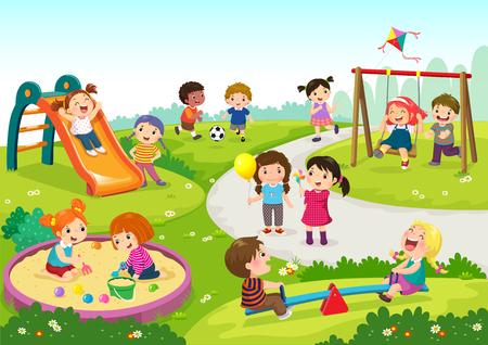 Ilustración de vector de niños felices jugando en el patio de recreo