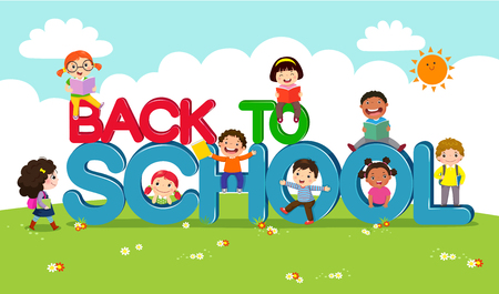 Back to school vector banner with school kids characters Çizim