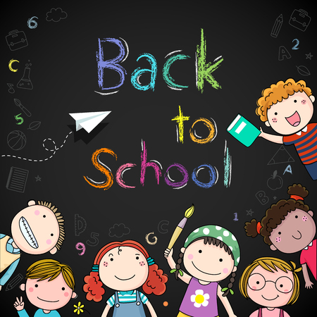 Happy school kids and back to school background