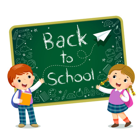 School kids with text of Back to School on the blackboard Stock Illustratie