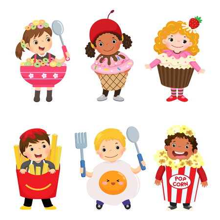 Vector cartoon of cute kids in food costumes set. Carnival clothes for children. Çizim