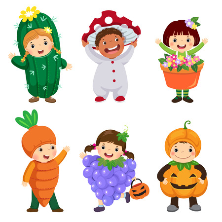 Vector cartoon of cute kids in plant costumes set. Carnival clothes for children. Çizim