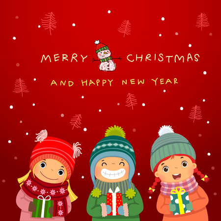 Group of happy kids with Christmas gifts and winter background. Christmas and New Year card.