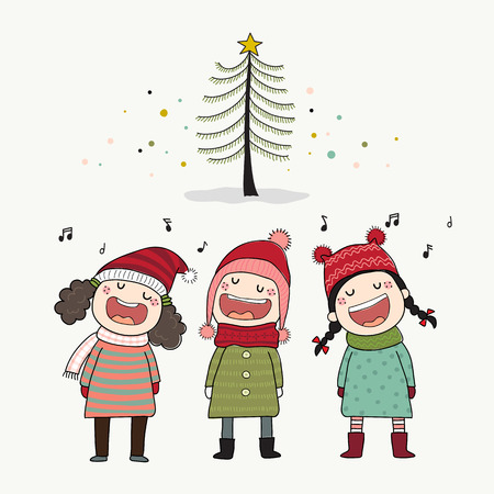 Three kids singing Christmas caroling with pine tree.