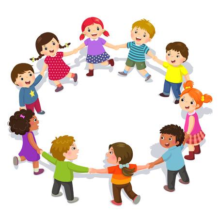 Niños felices cogidos de la mano en círculo. Chicos y chicas lindos divirtiéndose