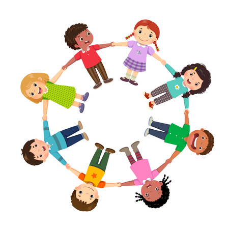 Group of kids holding hands in a circle