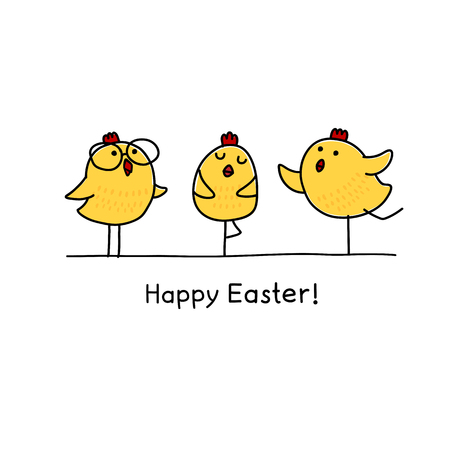 Happy Easter greeting card with Easter chick