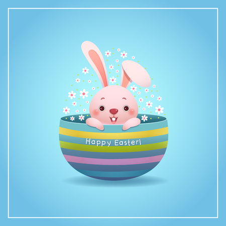Happy Easter greeting card with Easter bunny and egg