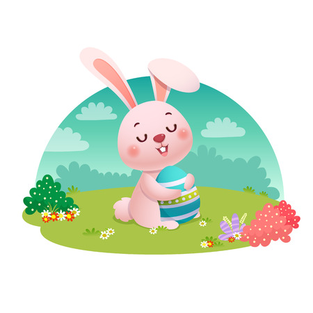 Vector illustration of a rabbit holding an Easter egg on the field