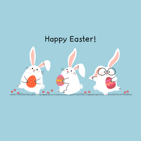 Happy Easter greeting card with Easter bunnies