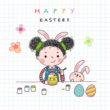 Hand drawn illustration of a little girl painting Easter eggs Çizim