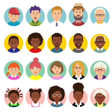 Set van menselijke gezichten, avatars, mensen hoofden van verschillende nationaliteiten en leeftijden in vlakke stijl. Vector Illustratie