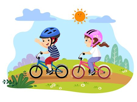 Vector illustration of happy kids riding bicycles in the park.