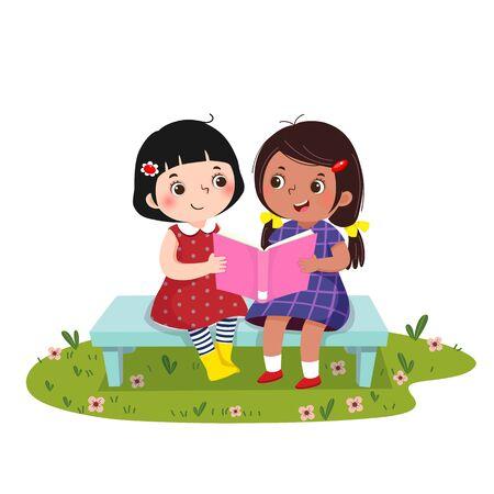 Illustration vectorielle de deux petites filles assises sur le banc et lisant un livre ensemble. Vecteurs
