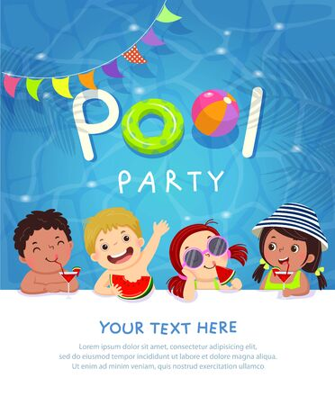 Pool party invitation template card with kids enjoying in swimming pool. 向量圖像