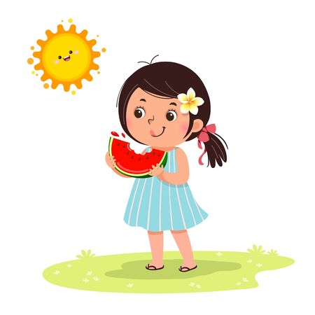 Cute little girl feeling happy with watermelon in hot sunny day. Ilustração