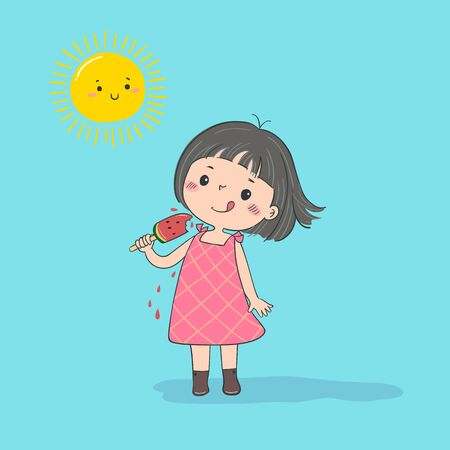 Cute little girl feeling happy with watermelon ice cream in hot sunny day.