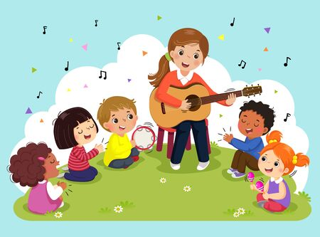 Young woman playing guitar with a group of kids singing and playing musical instruments. Female teacher and pupils having music in the park.