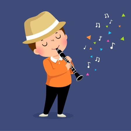 Vector illustration of little boy playing the clarinet on blue background.