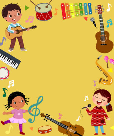 Template for advertising background in music concept with three kid musicians. Illusztráció