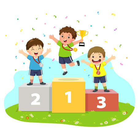 Vector illustration of three boys with medals standing on sport winners pedestal and holding a trophy.