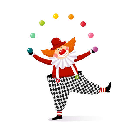 Vector illustration cartoon of a cute clown juggling with colorful balls. Ilustração