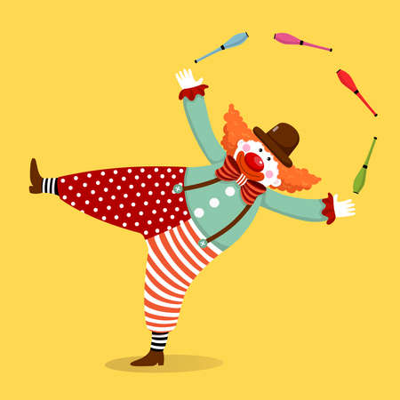 Vector illustration cartoon of a cute clown juggling with clubs.
