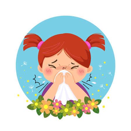 Vector illustration of cartoon little girl having allergy from pollen. Health Problems concept.