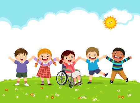 Vector illustration of happy disabled girl in a wheelchair and her friends jumping together.