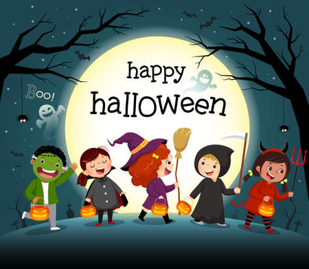 Halloween night background with group of kids in costume party.